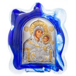 Икона в муранском стекле Божией Матери «Вифлеемская» 6х8 см (Греция)