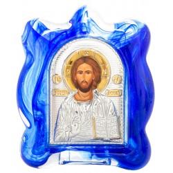Икона в муранском стекле Спаситель 6х8 см (Греция)