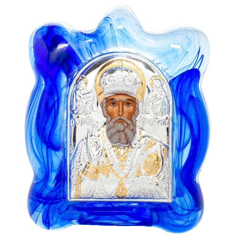 Икона в муранском стекле Святой Николай Чудотворец 6х8 см (Греция)