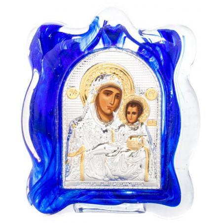 Икона в муранском стекле Божией Матери «Иерусалимская» 6х8 см (Греция)