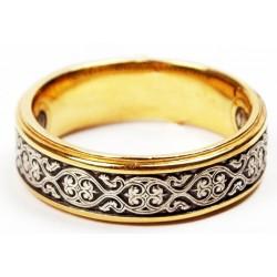 """Кольцо """"с орнаментом"""", серебро с позолотой, молитва на внутренней стороне"""