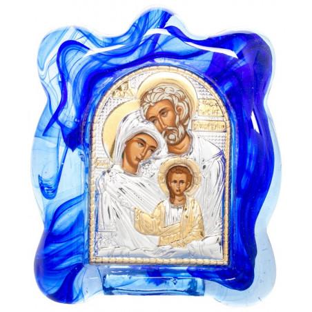 Икона в муранском стекле Святое Семейство 6х8 см (Греция)