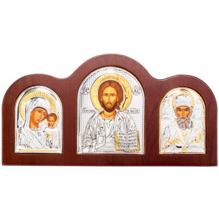 Икона тройная Спаситель, Божией Матери «Казанская» и Святой Николай Чудотворец 17,5х9 см