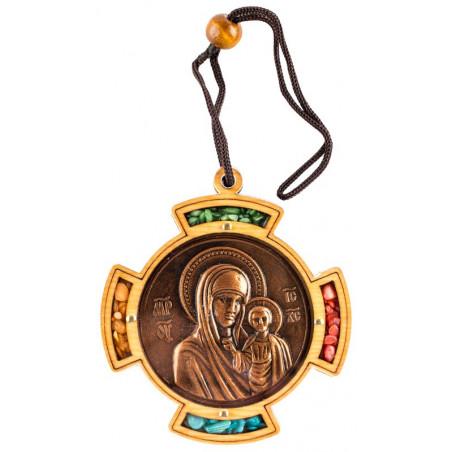 Автомобильная икона Божией Матери «Иерусалимская» с ладаном 7х7 см