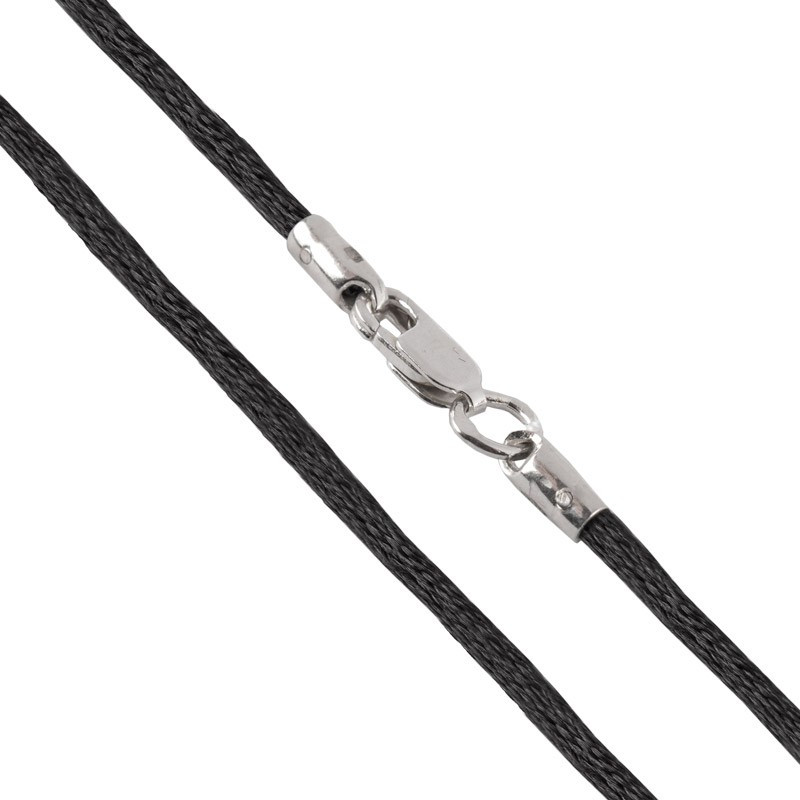 Шелковый шнурок для крестика с серебряным замком