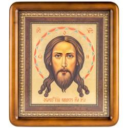 Писаная икона в киоте Спас Нерукотворный 29х35 см