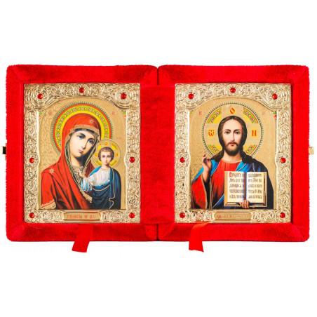 Двойной складень в бархате икона Спаситель и Божией Матери «Казанская» 10х12 см