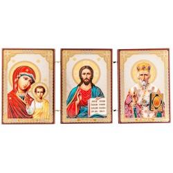 Тройной складень: Спаситель, Божья Матерь Казанская, Святой Николай Чудотворец