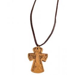 Кожаный нательный крест на шнурке
