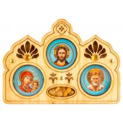 Автомобильная икона «Тройная» 8х5 см