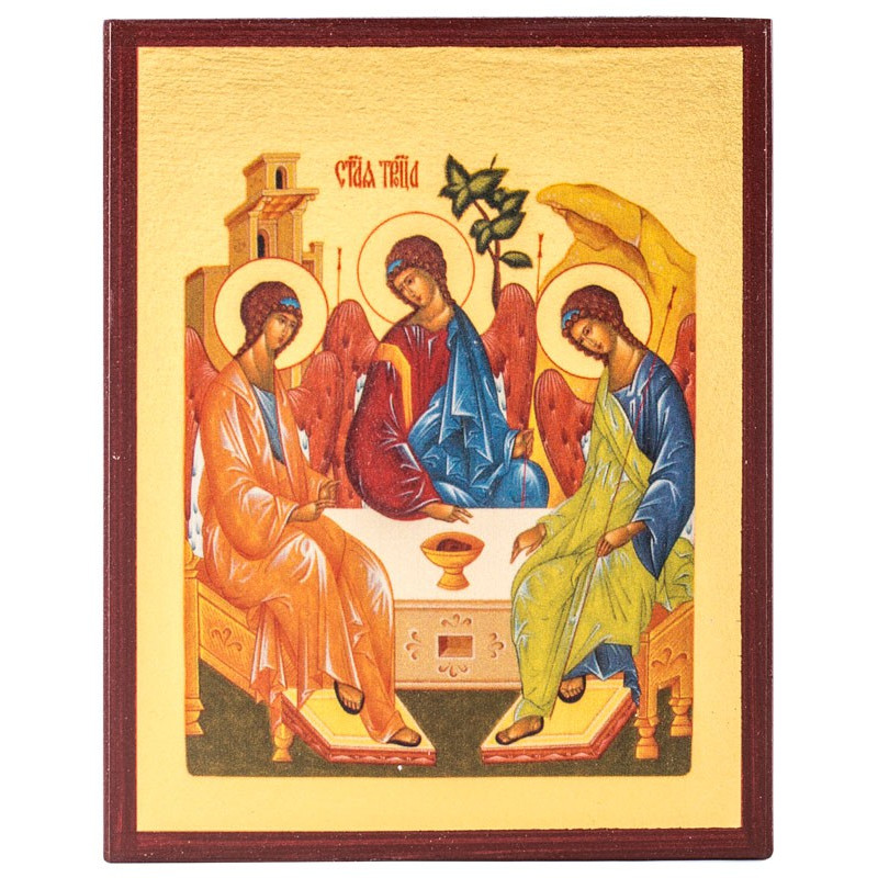 Икона Святая Троица (Рублева) 10х12 см