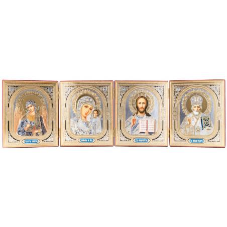 Четверной складень с иконами Спаситель, Божьей Матери «Казанская», Ангел Хранитель, Николай Чудотворец