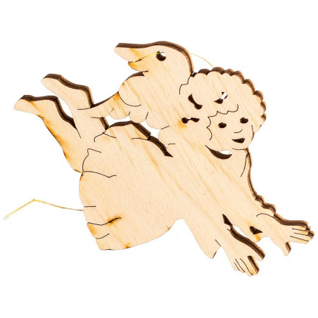 Деревянный летящий ангел на елку