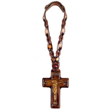 Кожаный крест для автомобиля со святынями