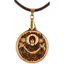Кожаный образ Покров Пресвятой Богородицы со святынями