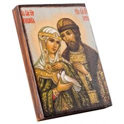 Икона Святые благоверные князь Петр и княгиня Феврония 11х15 см