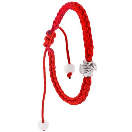 Плетенный браслет с металлическим крестом (плетение косичкой)