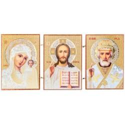 Тройная икона-мкладень Спаситель, Божия Матерь «Казанская», Николай Чудотворец