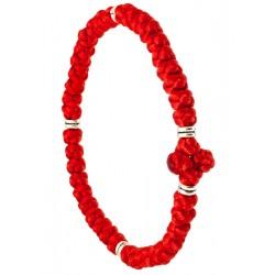 Плетеный браслет «Афонский» на 40 узелков с металлическими вставками (Греческие комбоскини)