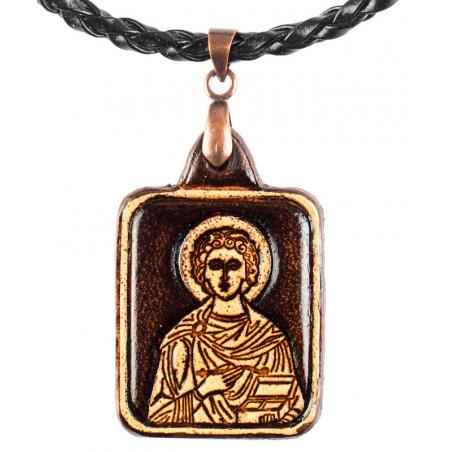 Кожаная нательная ладанка Великомученик Целитель Пантелеймон