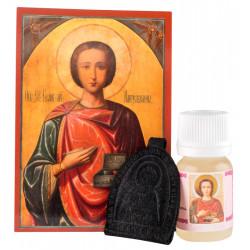 Набор: икона святой Пантелеймон, елей и кожаная ладанка