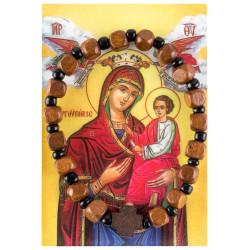 Деревянный браслет на резинке с иконой Богородицы