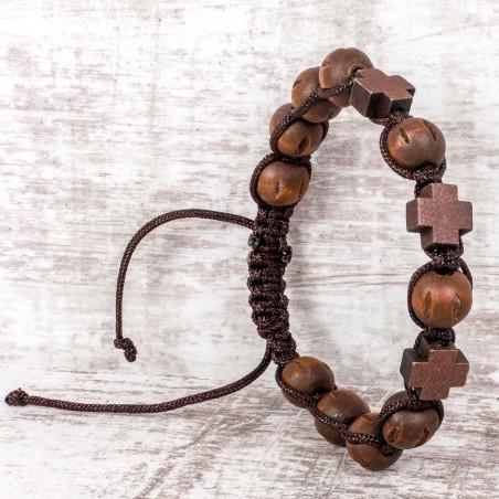 Браслет плетенный с бусинами и 3мя крестиками из самшита (Грузия)