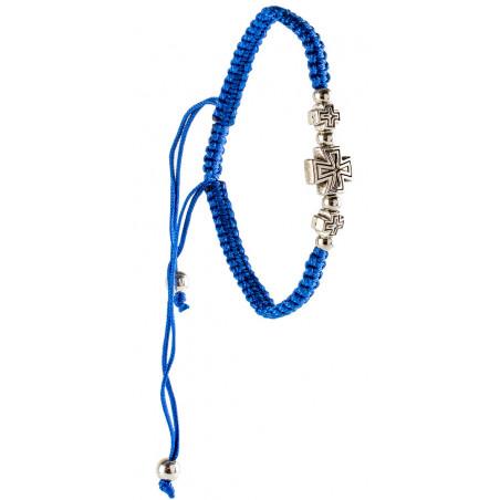 Браслет плетенный с металлическим крестиком, синий
