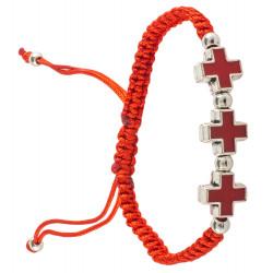 Браслет плетенный с 3мя металлическими крестиками с эмалью, красный