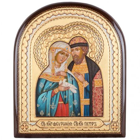 Икона на дереве, арочная, Святые Петр и Феврония 15х18 см