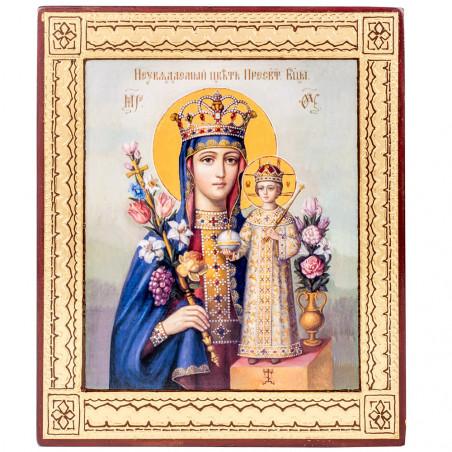 Икона на дереве Божией Матери «Неувядаемый Цвет», объемная узор 15х18 см
