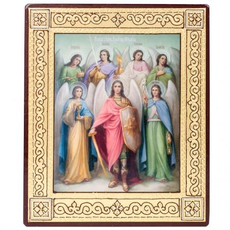 Икона на дереве Собор Архангела Михаила, объемная узор 15х18 см