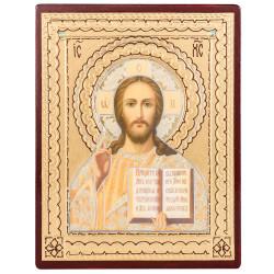 Икона на дереве Спаситель, объемная узор 11х14 см
