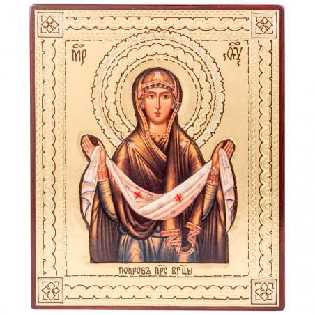 """Икона на дереве Покров Пресвятой Богородицы, объемная """"риза"""" 15х18 см"""