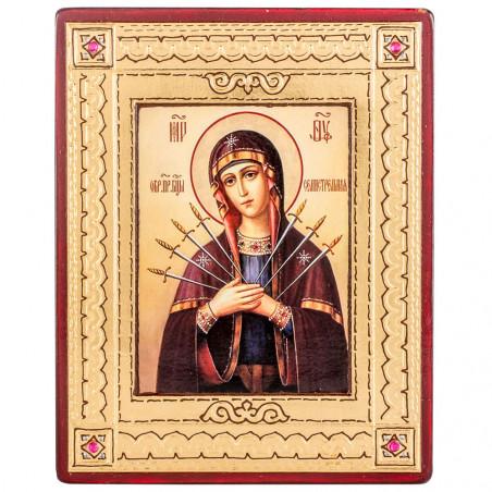Икона на дереве Божией Матери «Умягчение злых сердец», объемная узор 11х14 см