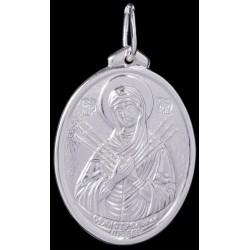 Медальон серебряный Божья Матерь Семистрельная (02991)