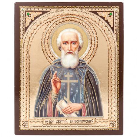 Икона на дереве Святой Сергий Радонежский, внутренняя арка 17х21 см