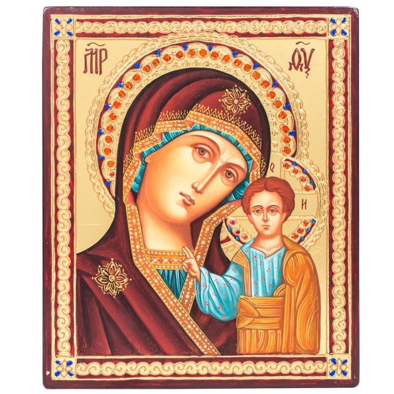 Икона писаная Божия Матерь «Казанская» 15х18 см