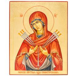 Икона писаная Божией Матери «Семистрельная» 24х30см