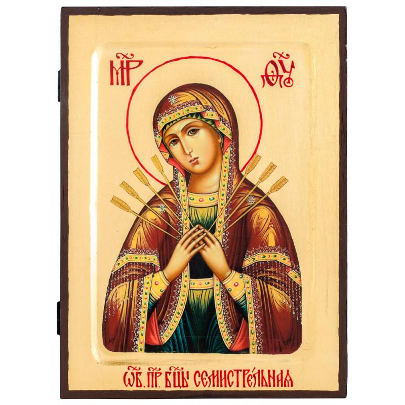 Икона Божия Матерь «Семистрельная» 17х23 см (Греция)