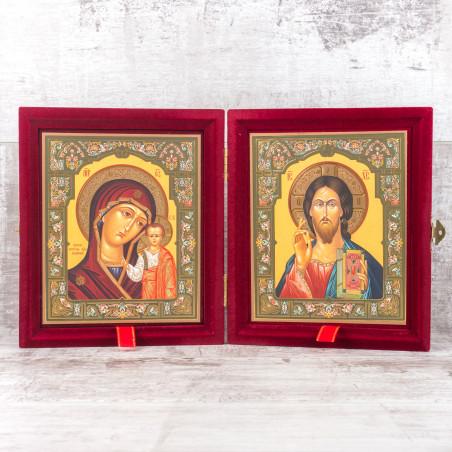 Складень икона Божия Матерь «Казанская» и Спаситель 15х18 см