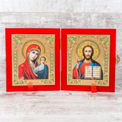 Складень икона Божия Матерь «Казанская» и Спаситель 10х12 см