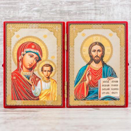 Складень икона Божия Матерь «Казанская» и Спаситель 7х9 см