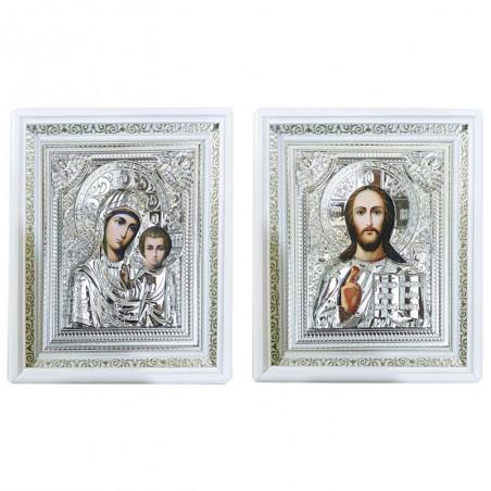 Венчальная пара икона Спасителя и Божией Матери «Казанская» 15х18 см