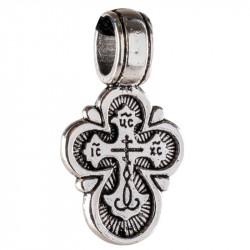 Нательный крест «Цветочек» с литым ушком, малый